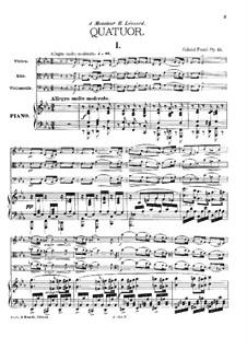 Фортепианный квартет No.1 до минор, Op.15: Партитура by Габриэль Форе