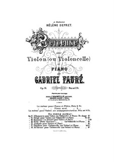 Колыбельная песня для скрипки и фортепиано, Op.16: Партитура, сольная партия by Габриэль Форе
