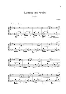 Романсы без слов, Op.17: No.3 ля бемоль мажор by Габриэль Форе