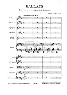 Баллада фа-диез мажор, Op.19: Для фортепиано с оркестром by Габриэль Форе