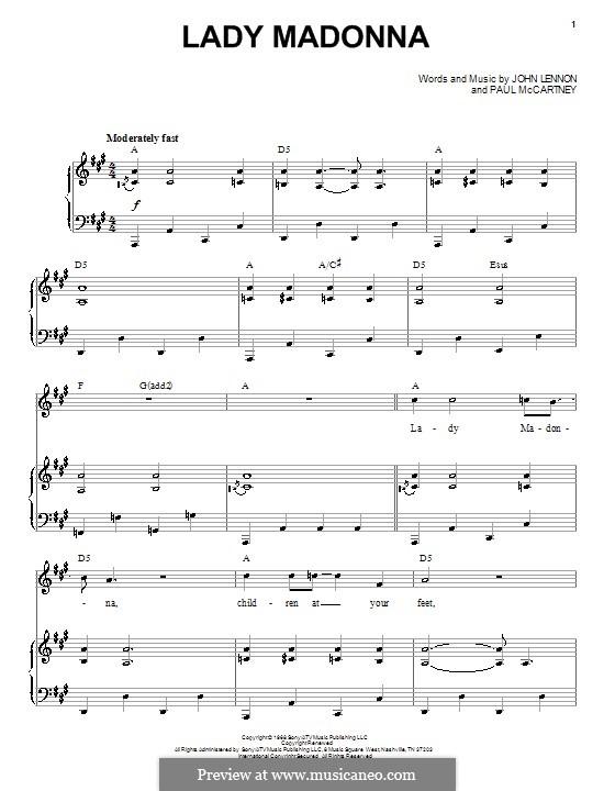 Lady Madonna (The Beatles): Для голоса и фортепиано by John Lennon, Paul McCartney