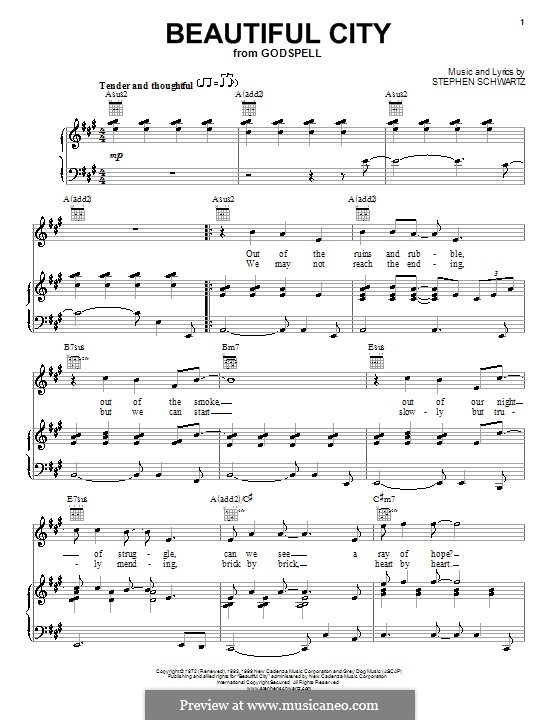 Beautiful City: Для голоса и фортепиано (или гитары) by Stephen Schwartz