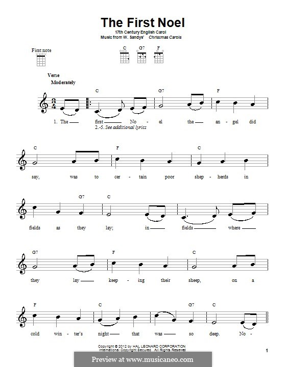 The First Nowell (The First Noël), Printable scores: Для укулеле by folklore