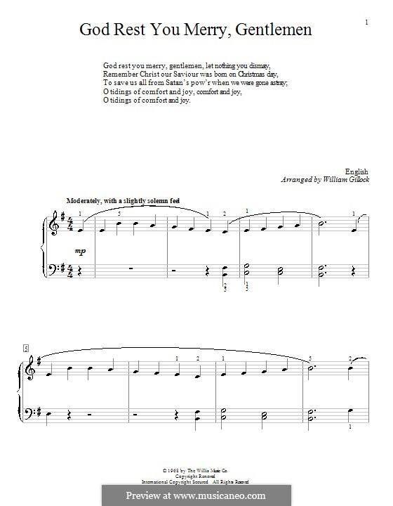God Rest You Merry, Gentlemen, for Piano: Для одного исполнителя by folklore