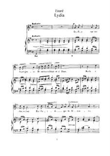 Две песни, Op.4: No.2 Лидия (Соль мажор) by Габриэль Форе