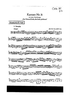 Der Himmel lacht! Die Erde jubilieret, BWV 31: Cello II or double bass part by Иоганн Себастьян Бах