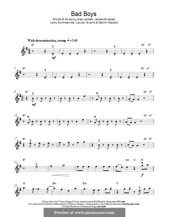 Bad Boys (Alexandra Burke): Для скрипки by Busbee, Larry Summerville, Lauren Evans, Melvin Watson, Alexander James