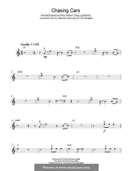 Chasing Cars (Snow Patrol): Для скрипки by Gary Lightbody, Jonathan Quinn, Nathan Connolly, Paul Wilson, Tom Simpson