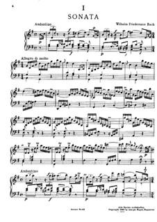 Соната для клавира соль мажор, BR A 14, F 7: Для одного исполнителя by Вильгельм Фридеман Бах