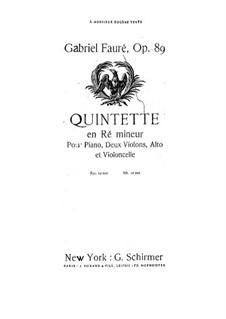 Фортепианный квинтет No.1 ре минор, Op.89: Партия II скрипки by Габриэль Форе