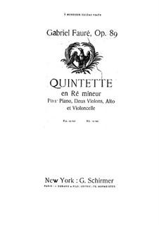 Фортепианный квинтет No.1 ре минор, Op.89: Партия виолончели by Габриэль Форе