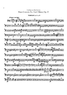 Концерт для фортепиано с оркестром No.3, Op.37: Партия литавр by Людвиг ван Бетховен