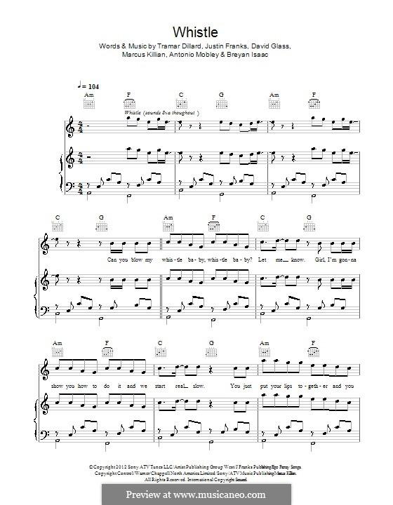 Whistle (Flo Rida): Для голоса и фортепиано (или гитары) by Justin Franks, Flo Rida, Breyan Isaac, Antonio Mobley, David Glass, Marcus Killian