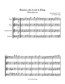 Rejoice the Lord Is King: For wind quartet by John Darwall