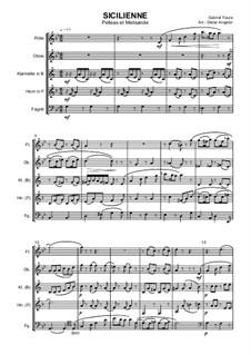 Пеллеас и Мелизанда, Op.80: Sicilienne, für Holzbläserquintett by Габриэль Форе