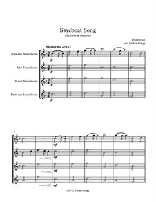 Skye Boat Song: For saxophone quartet by folklore