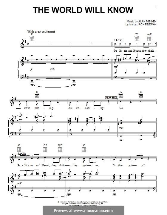 The World Will Know: Для голоса и фортепиано (или гитары) by Alan Menken