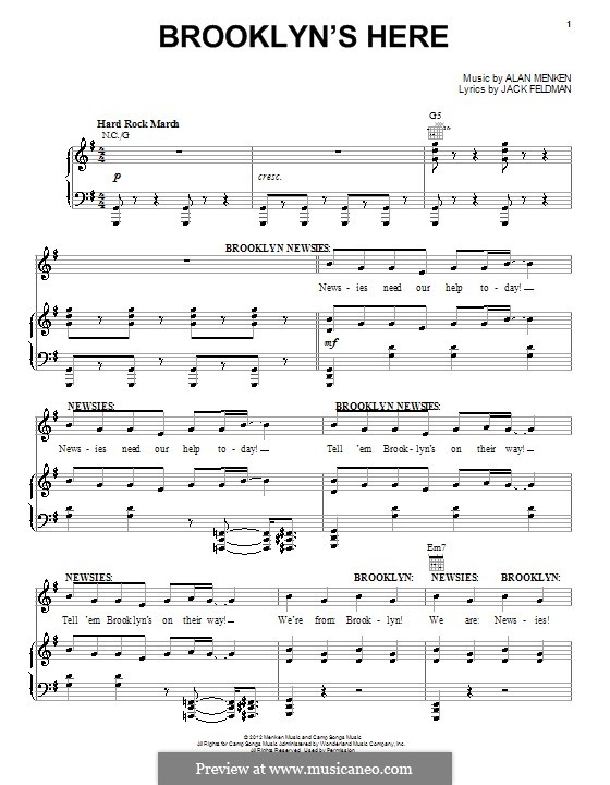 Brooklyn's Here: Для голоса и фортепиано (или гитары) by Alan Menken