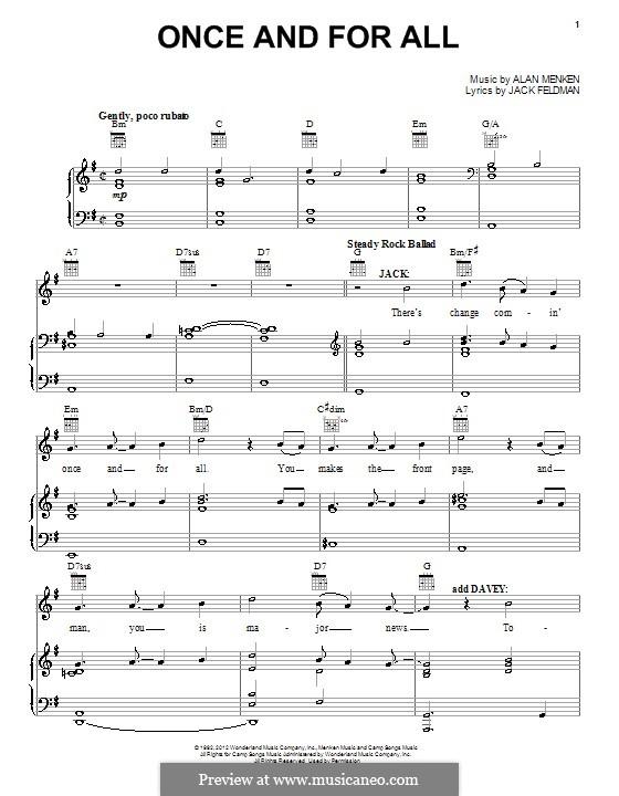 Once and for All: Для голоса и фортепиано (или гитары) by Alan Menken