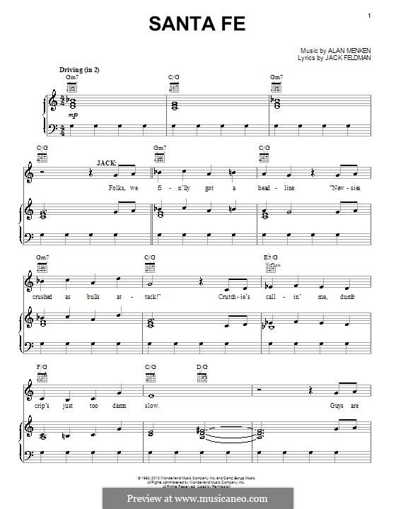 Santa Fe (from Newsies): Для голоса и фортепиано (или гитары) by Alan Menken