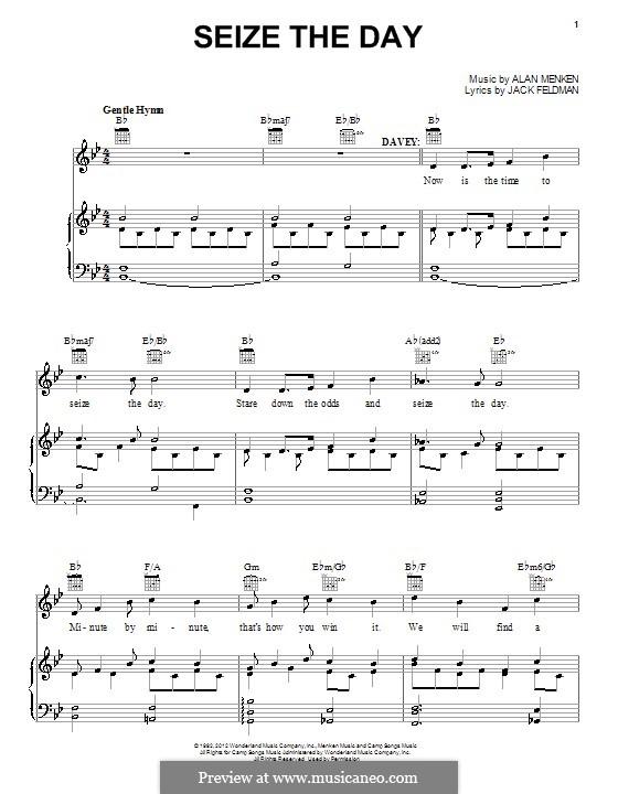 Seize the Day: Для голоса и фортепиано (или гитары) by Alan Menken