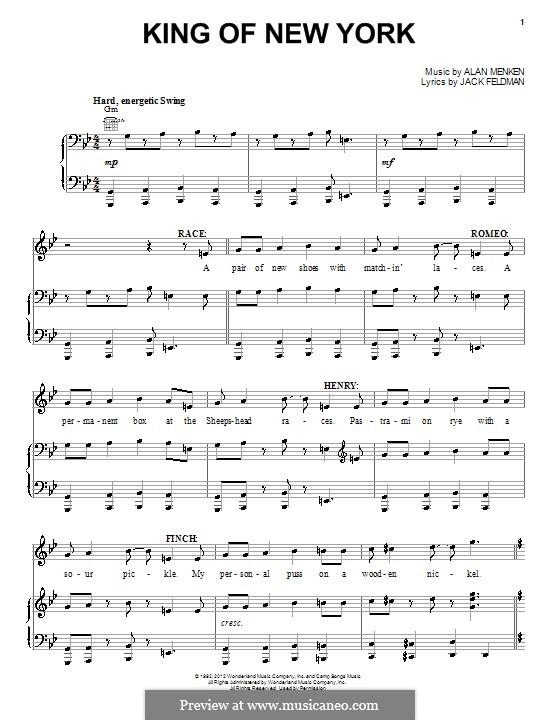 King of New York (from Newsies): Для голоса и фортепиано (или гитары) by Alan Menken
