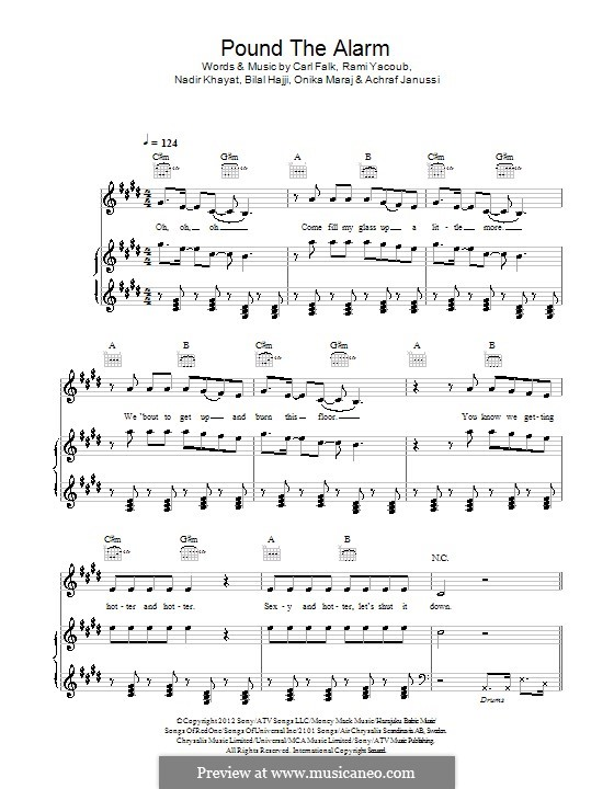 Pound the Alarm (Nicki Minaj): Для голоса и фортепиано (или гитары) by RedOne, Achraf Janussi, Bilal Hajji, Carl Falk, Onika Maraj