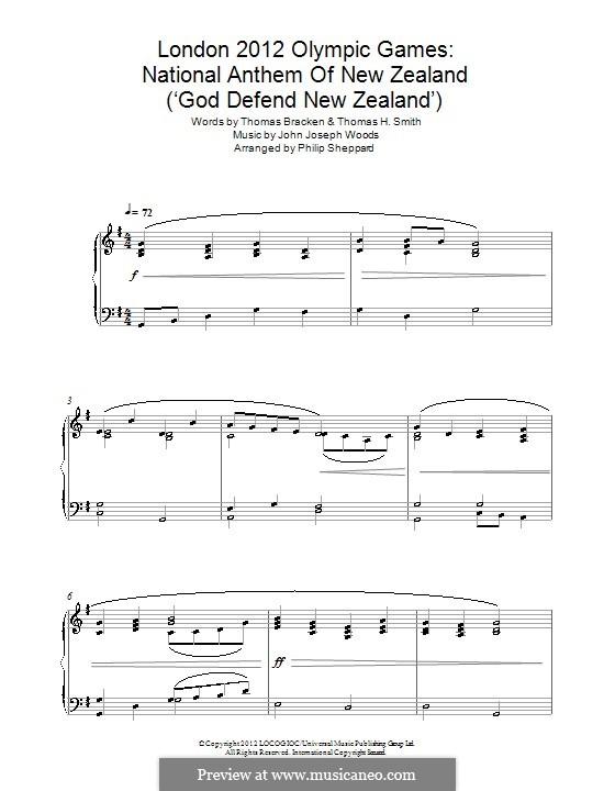 God Defend New Zealand (New Zealand National Anthem): Для фортепиано by John Joseph Woods