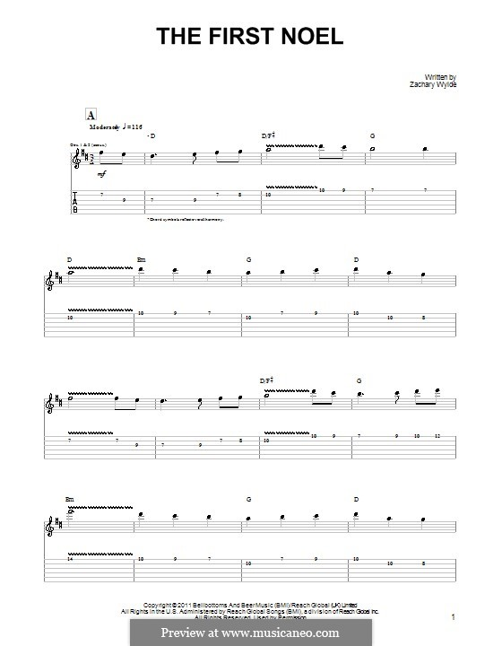 The First Nowell (The First Noël), Printable scores: Гитарная табулатура by folklore