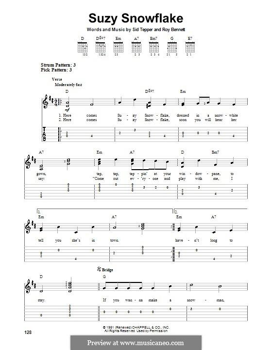 Suzy Snowflake (Rosemary Clooney): Гитарная табулатура by Roy C. Bennett, Sid Tepper