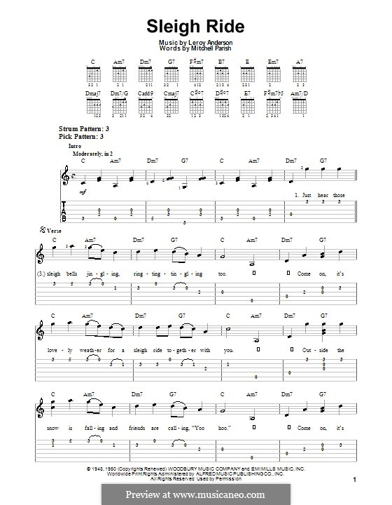 Sleigh Ride: Для гитары с табулатурой by Лерой Андерсон