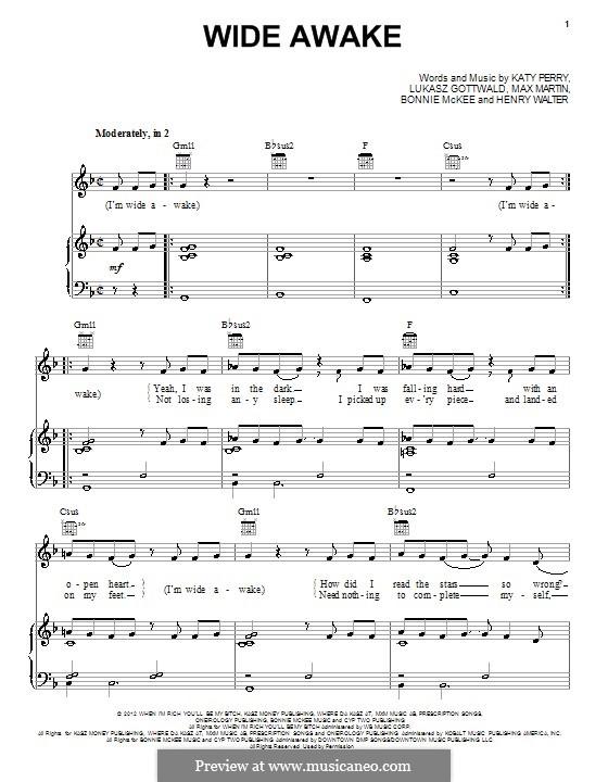 Wide Awake: Для голоса и фортепиано (или гитары) by Bonnie McKee, Katy Perry, Lukas Gottwald, Max Martin, Henry Russell Walter