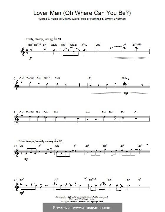 Lover Man (Oh, Where Can You Be?): Для альтового саксофона by Jimmie Davis, Jimmy Sherman, Roger Ramirez