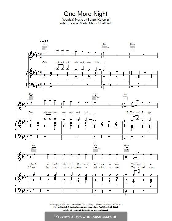 One More Night (Maroon 5): Для голоса и фортепиано (или гитары) by Shellback, Adam Levine, Max Martin