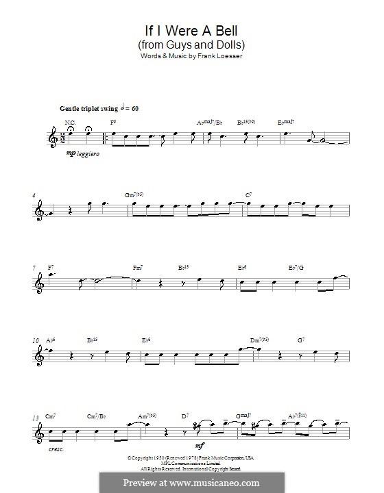 If I Were a Bell: Для альтового саксофона by Frank Loesser