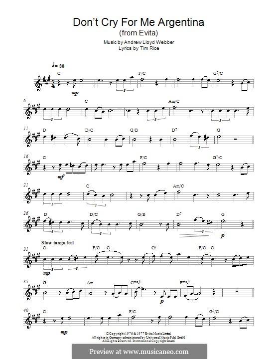 Don't Cry for Me Argentina: Для альтового саксофона by Andrew Lloyd Webber