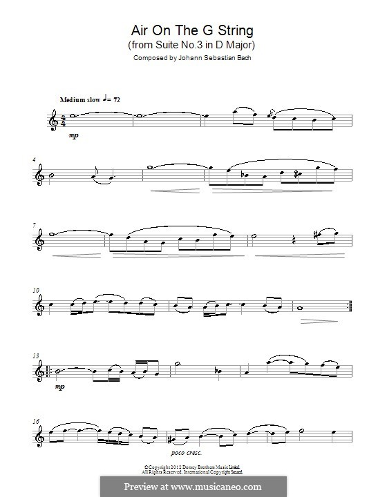 Aria (Printable Scores): Версия для саксофона альт by Иоганн Себастьян Бах
