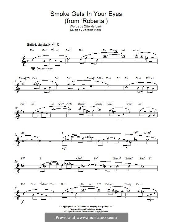 Smoke Gets in Your Eyes (from 'Roberta'): Для альтового саксофона by Джером Керн