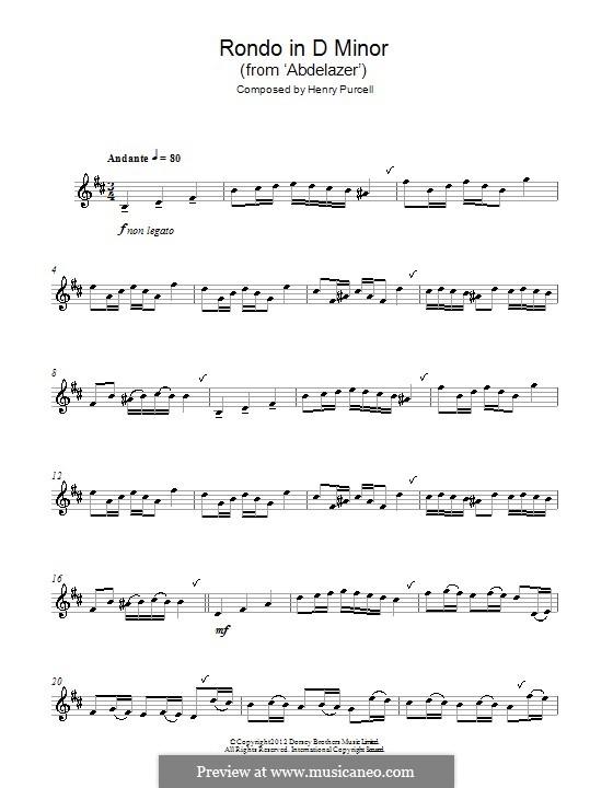 Абделазар, или Месть мавра: Рондо. Переложение для альтового саксофона by Генри Пёрсел