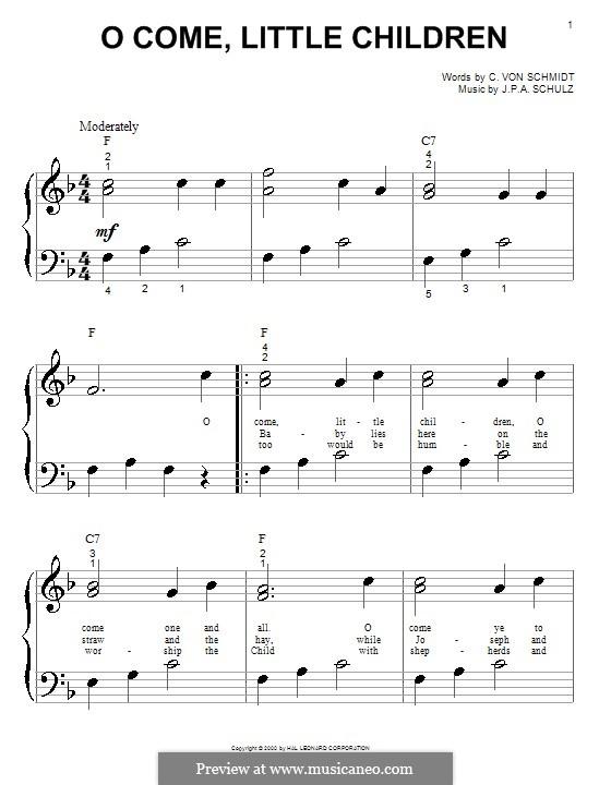 O Come, Little Children: Для фортепиано by Иоганн Авраам Шульц