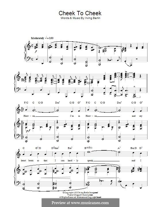 Cheek to Cheek: Для голоса и фортепиано или гитары (Top Hat Cast) by Ирвинг Берлин