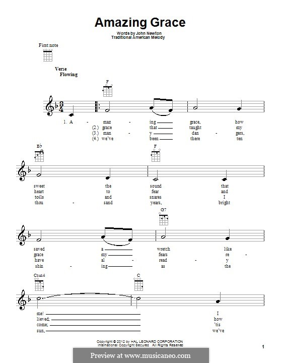 Amazing Grace (Printable Scores): Для укулеле by folklore