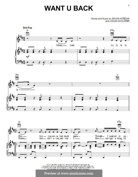 Want u Back: Для голоса и фортепиано (или гитары) by Shellback, Savan Kotecha