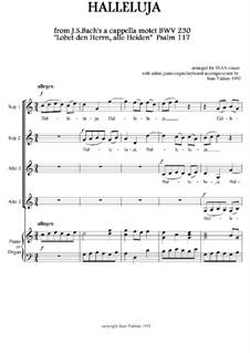 Lobet den Herrn alle Heiden, BWV 230: Halleluja, for SSAA and piano (or organ, or keyboard) by Иоганн Себастьян Бах