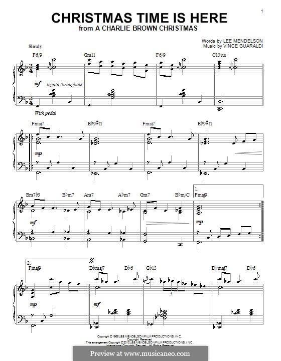 Christmas Time is Here (from A Charlie Brown Christmas), for Piano: With chords by Vince Guaraldi