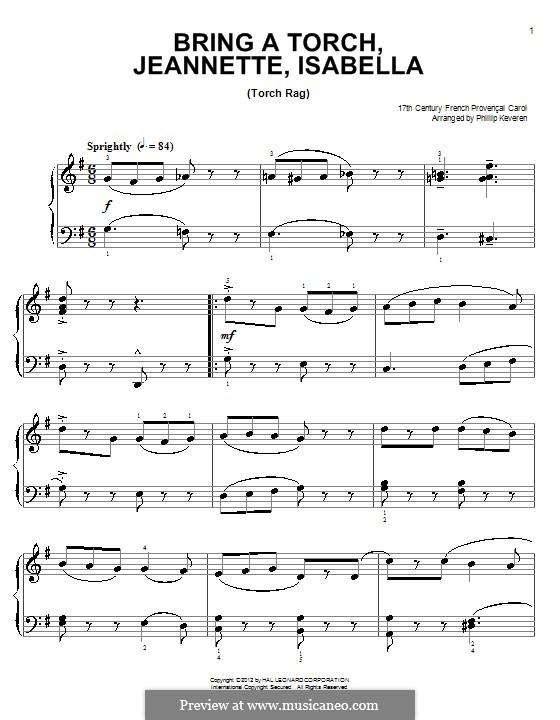 Bring a Torch, Jeannette Isabella: Для фортепиано by folklore