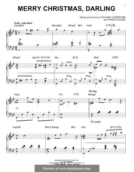 Merry Christmas, Darling (Carpenters): Для фортепиано (jazz version) by Frank Pooler, Richard Carpenter
