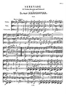 Струнное трио No.2 ре мажор 'Серенада', Op.8: Партитура by Людвиг ван Бетховен