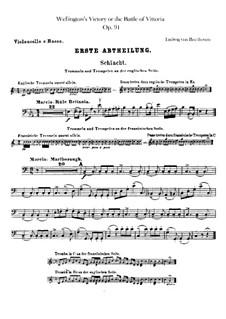 Победа Веллингтона, или Битва при Виттории, Op.91: Партия виолончели и контрабаса by Людвиг ван Бетховен