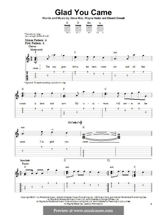 Glad You Came (The Wanted): Гитарная табулатура by Ed Drewett, Steve Mac, Wayne Anthony Hector